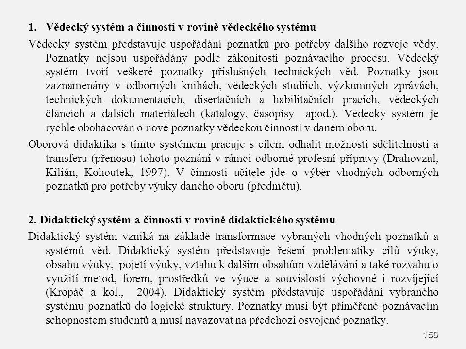 150 1. 1.Vědecký systém a činnosti v rovině vědeckého systému Vědecký systém představuje uspořádání poznatků pro potřeby dalšího rozvoje vědy. Poznatk