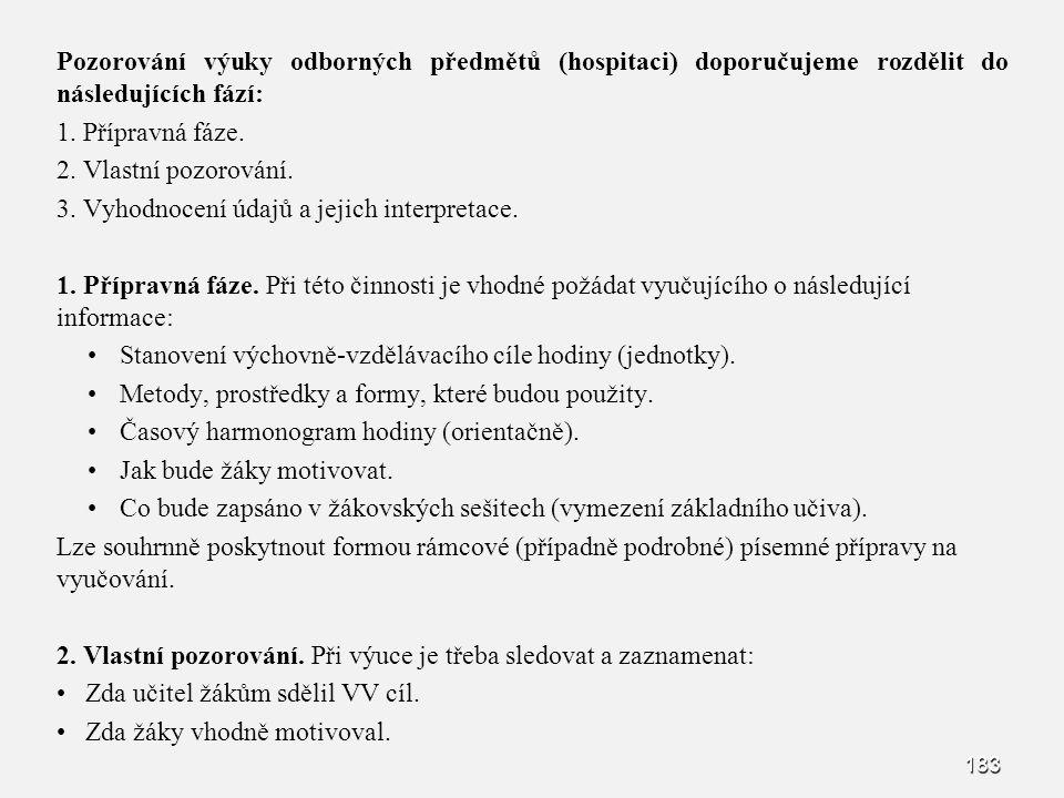 183 Pozorování výuky odborných předmětů (hospitaci) doporučujeme rozdělit do následujících fází: 1. 1. Přípravná fáze. 2. 2. Vlastní pozorování. 3. 3.