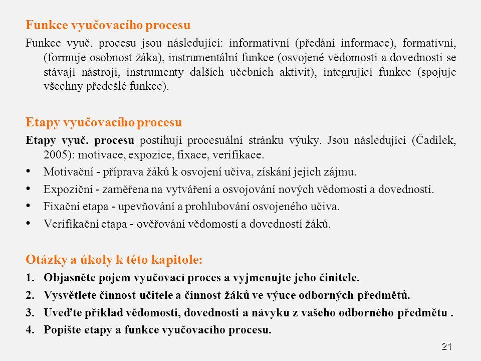 21 Funkce vyučovacího procesu Funkce vyuč. procesu jsou následující: informativní (předání informace), formativní, (formuje osobnost žáka), instrument