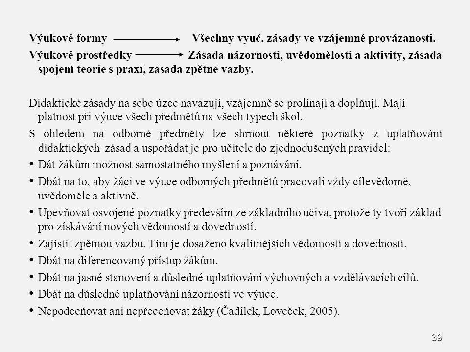 39 Výukové formy Všechny vyuč. zásady ve vzájemné provázanosti. Výukové prostředky Zásada názornosti, uvědomělosti a aktivity, zásada spojení teorie s