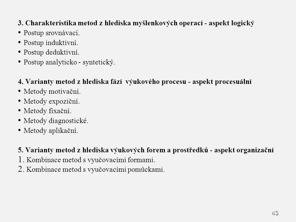 43 3. Charakteristika metod z hlediska myšlenkových operací - aspekt logický Postup srovnávací. Postup induktivní. Postup deduktivní. Postup analytick