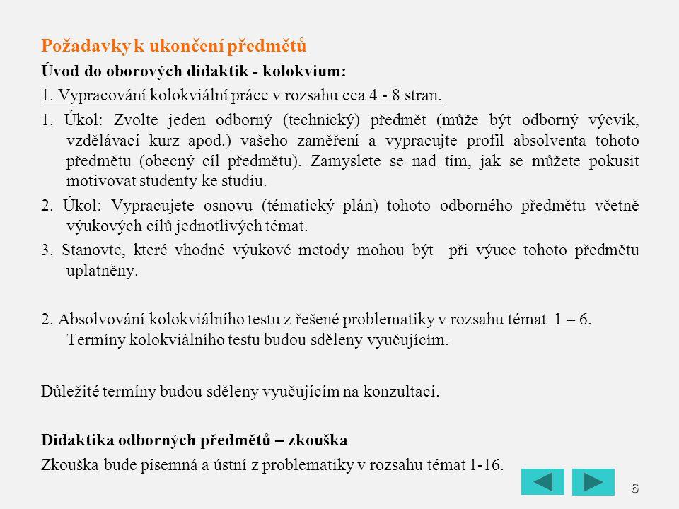 6 Požadavky k ukončení předmětů Úvod do oborových didaktik - kolokvium: 1. Vypracování kolokviální práce v rozsahu cca 4 - 8 stran. 1. Úkol: Zvolte je
