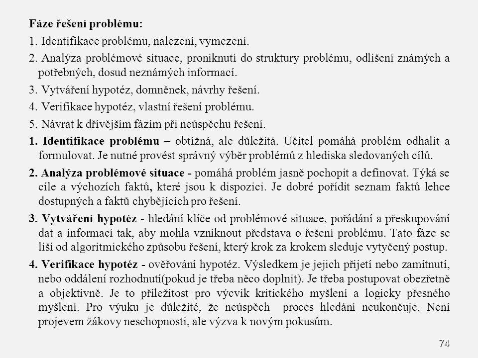 74 Fáze řešení problému: 1. 1. Identifikace problému, nalezení, vymezení. 2. 2. Analýza problémové situace, proniknutí do struktury problému, odlišení