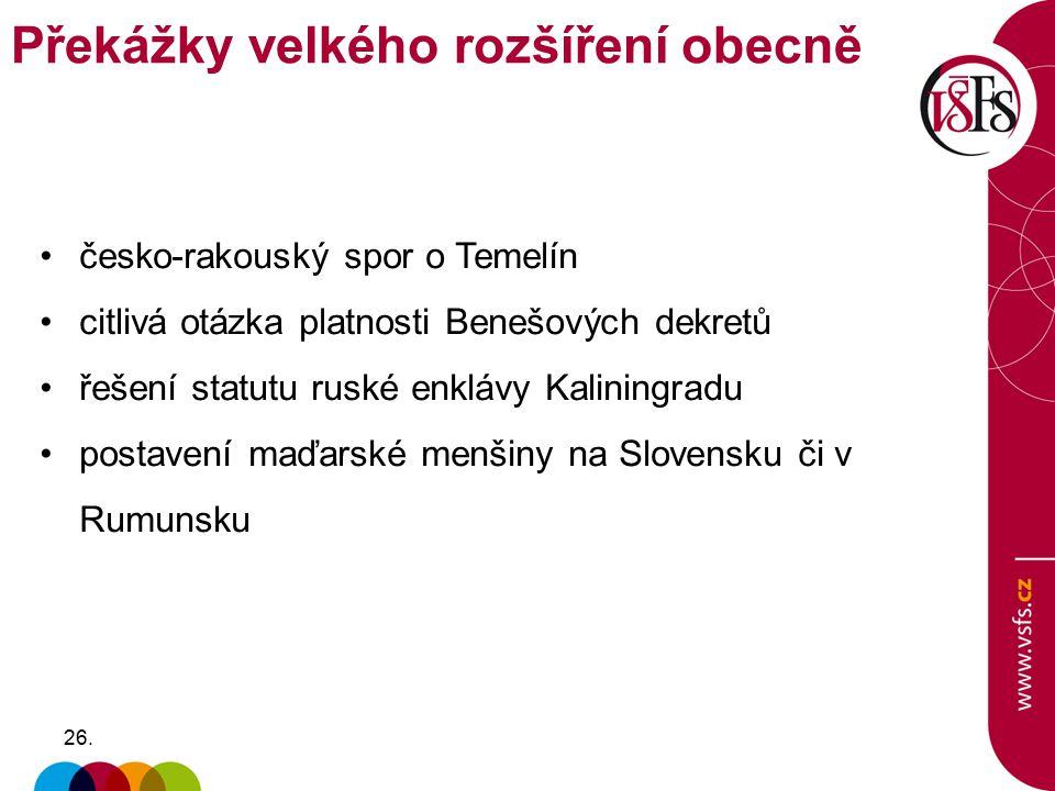 26. česko-rakouský spor o Temelín citlivá otázka platnosti Benešových dekretů řešení statutu ruské enklávy Kaliningradu postavení maďarské menšiny na
