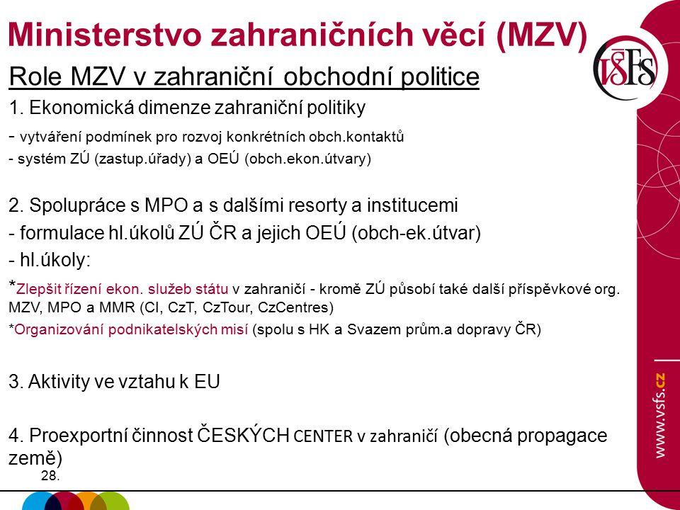 28. Role MZV v zahraniční obchodní politice 1. Ekonomická dimenze zahraniční politiky - vytváření podmínek pro rozvoj konkrétních obch.kontaktů - syst