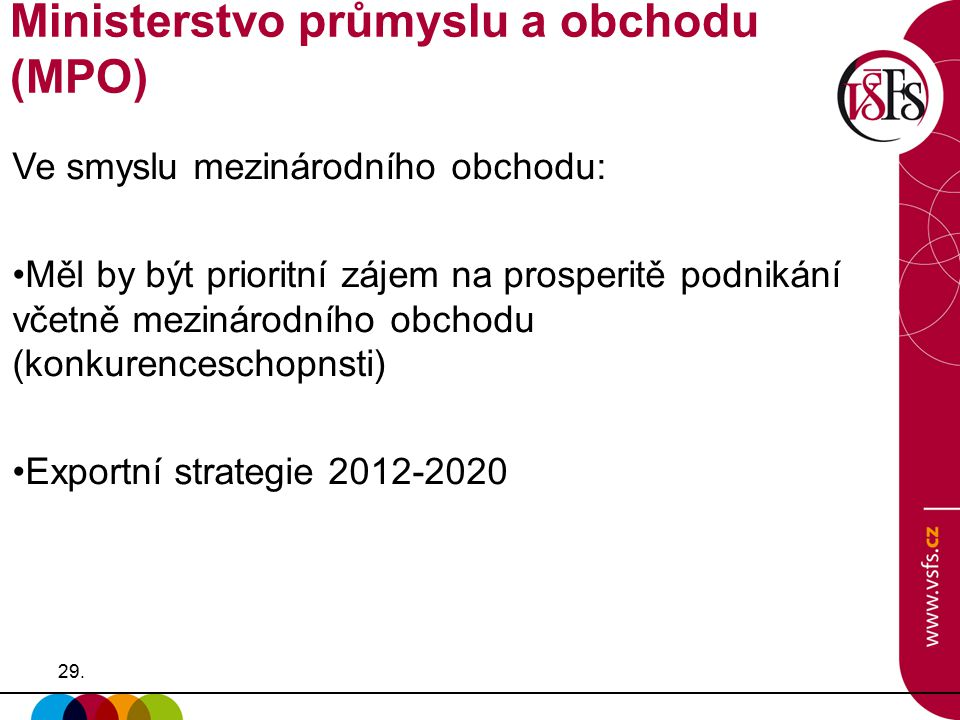 29. Ve smyslu mezinárodního obchodu: Měl by být prioritní zájem na prosperitě podnikání včetně mezinárodního obchodu (konkurenceschopnsti) Exportní st