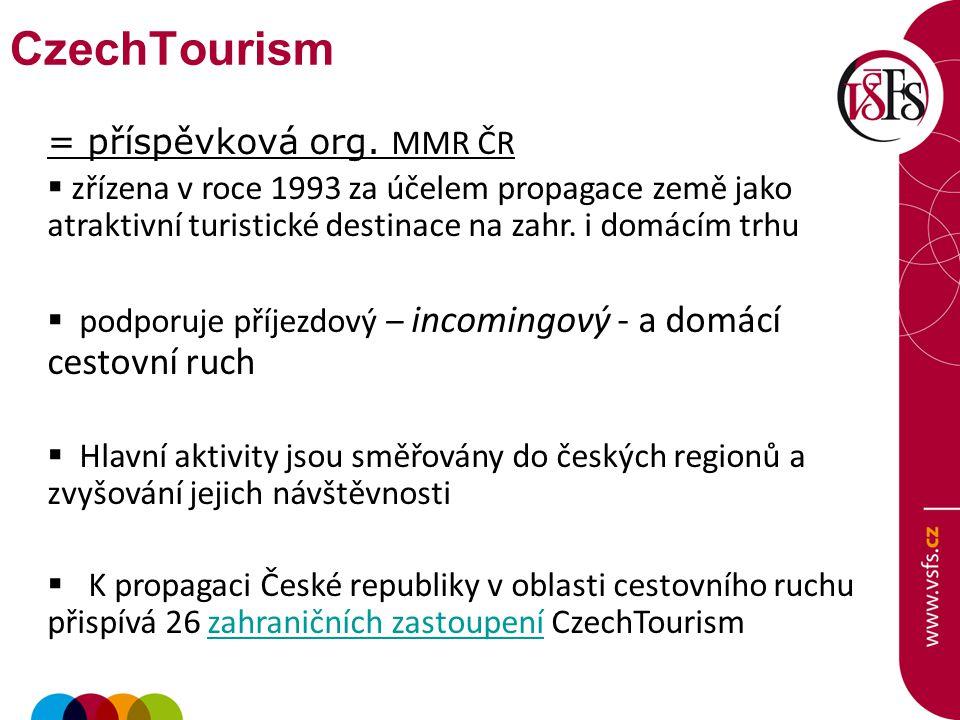 = příspěvková org. MMR ČR  zřízena v roce 1993 za účelem propagace země jako atraktivní turistické destinace na zahr. i domácím trhu  podporuje příj
