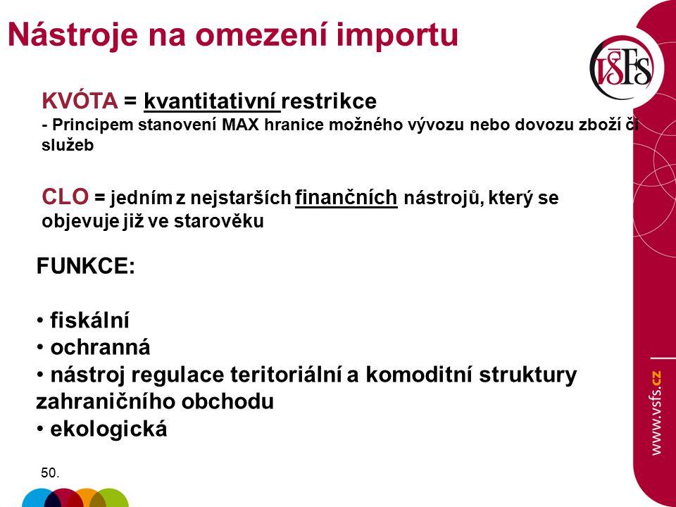 50. FUNKCE: fiskální ochranná nástroj regulace teritoriální a komoditní struktury zahraničního obchodu ekologická CLO = jedním z nejstarších finančníc