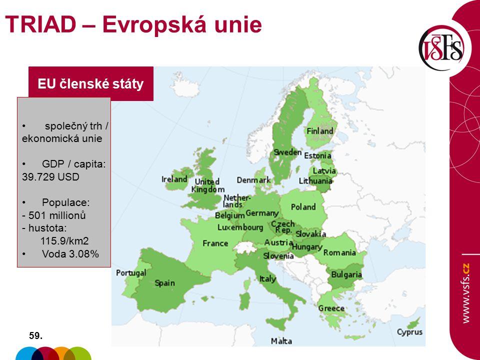 EU členské státy společný trh / ekonomická unie GDP / capita: 39.729 USD Populace: - 501 millionů - hustota: 115.9/km2 Voda 3.08% 59. TRIAD – Evropská