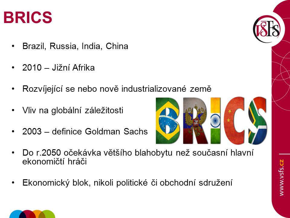 BRICS Brazil, Russia, India, China 2010 – Jižní Afrika Rozvíjející se nebo nově industrializované země Vliv na globální záležitosti 2003 – definice Go