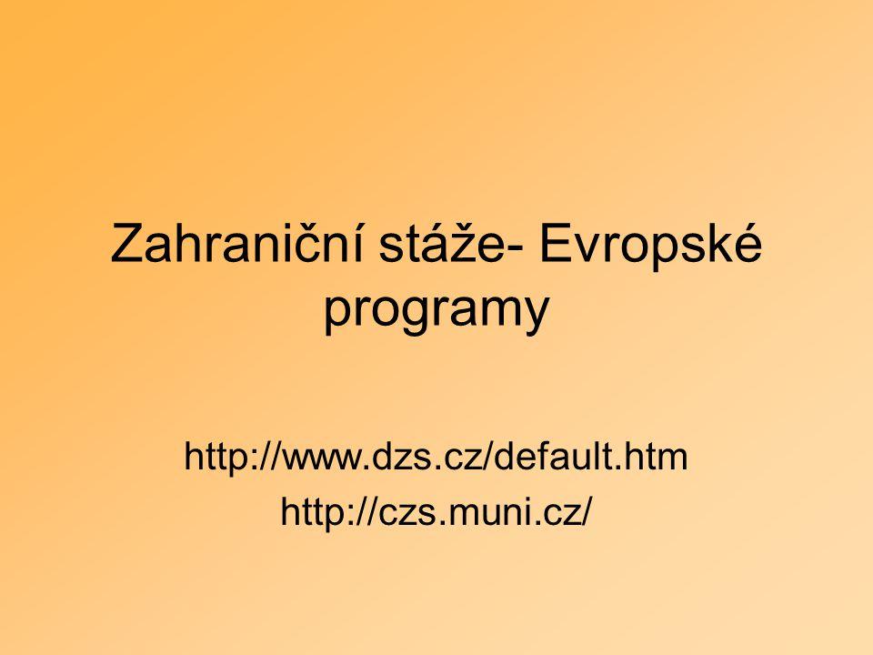 Zahraniční stáže- Evropské programy http://www.dzs.cz/default.htm http://czs.muni.cz/
