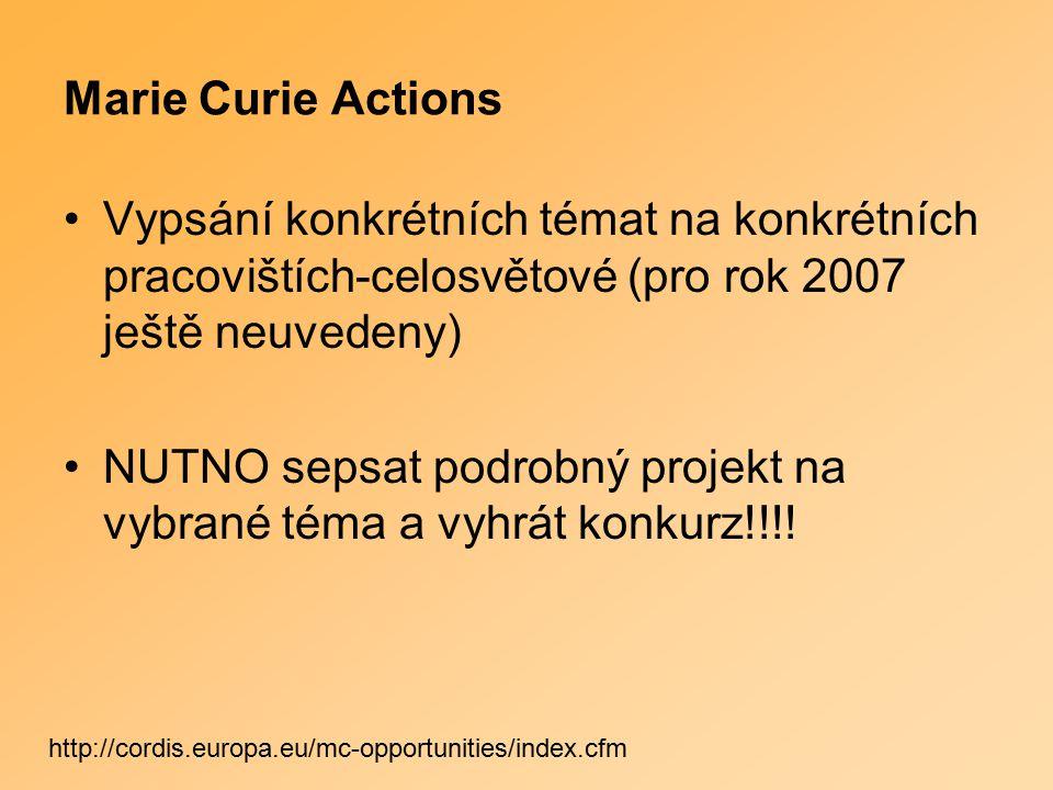 Marie Curie Actions Vypsání konkrétních témat na konkrétních pracovištích-celosvětové (pro rok 2007 ještě neuvedeny) NUTNO sepsat podrobný projekt na vybrané téma a vyhrát konkurz!!!.