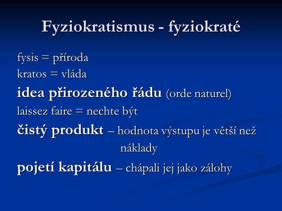 Fyziokratismus - fyziokraté fysis = příroda kratos = vláda idea přirozeného řádu (orde naturel) laissez faire = nechte být čistý produkt – hodnota výs