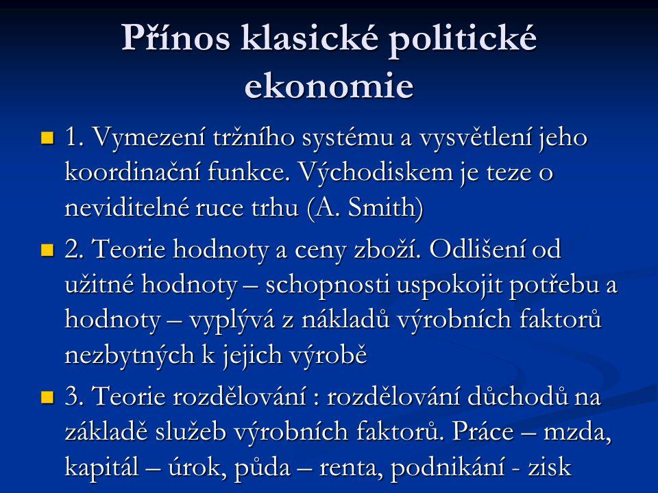 Přínos klasické politické ekonomie 1. Vymezení tržního systému a vysvětlení jeho koordinační funkce. Východiskem je teze o neviditelné ruce trhu (A. S