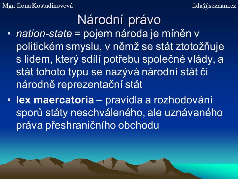 Národní právo nation-state = pojem národa je míněn v politickém smyslu, v němž se stát ztotožňuje s lidem, který sdílí potřebu společné vlády, a stát