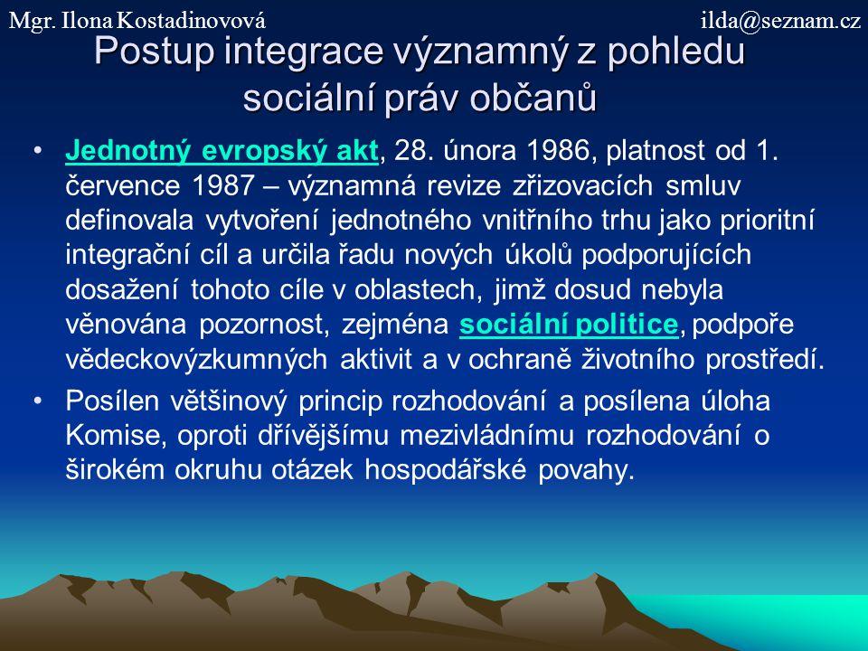 Postup integrace významný z pohledu sociální práv občanů Jednotný evropský akt, 28. února 1986, platnost od 1. července 1987 – významná revize zřizova