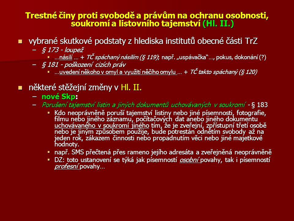 Trestné činy proti svobodě a právům na ochranu osobnosti, soukromí a listovního tajemství (Hl.