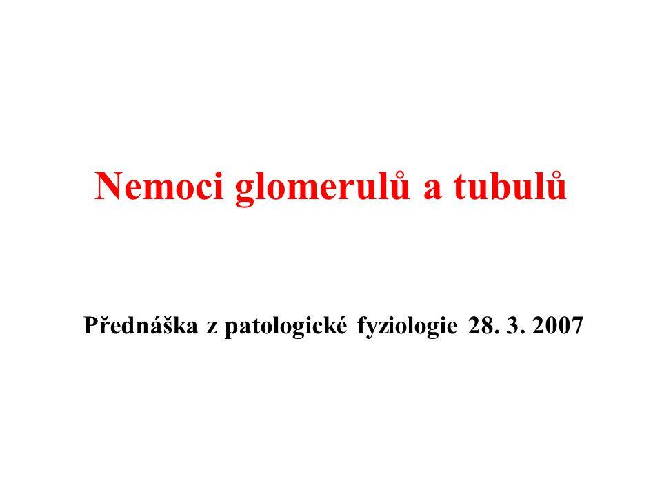 Glomerulopatie ve spojení se systémovými nemocemi  Nefritida se objevuje u 50-70% nemocných se SLE (abnormality při biopsii vždy)  Klinický obraz: - asi u ¼ klinické příznaky v době diagnózy - variabilní, modifikován základní terapií  Histologické změny: WHO klasifikace – normální glomeruly (typ I) - mezangiální GN (typ II) - fokálně proliferativní GN (typ III) - difúzní proliferativní GF (typ IV) - membranózní GN (typ V) - glomerulání skleróza (typ VI) Systémový lupus erythematodes