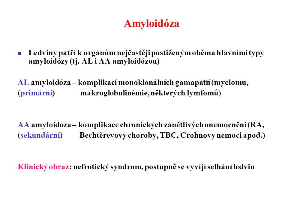 Amyloidóza Ledviny patří k orgánům nejčastěji postiženým oběma hlavními typy amyloidózy (tj.