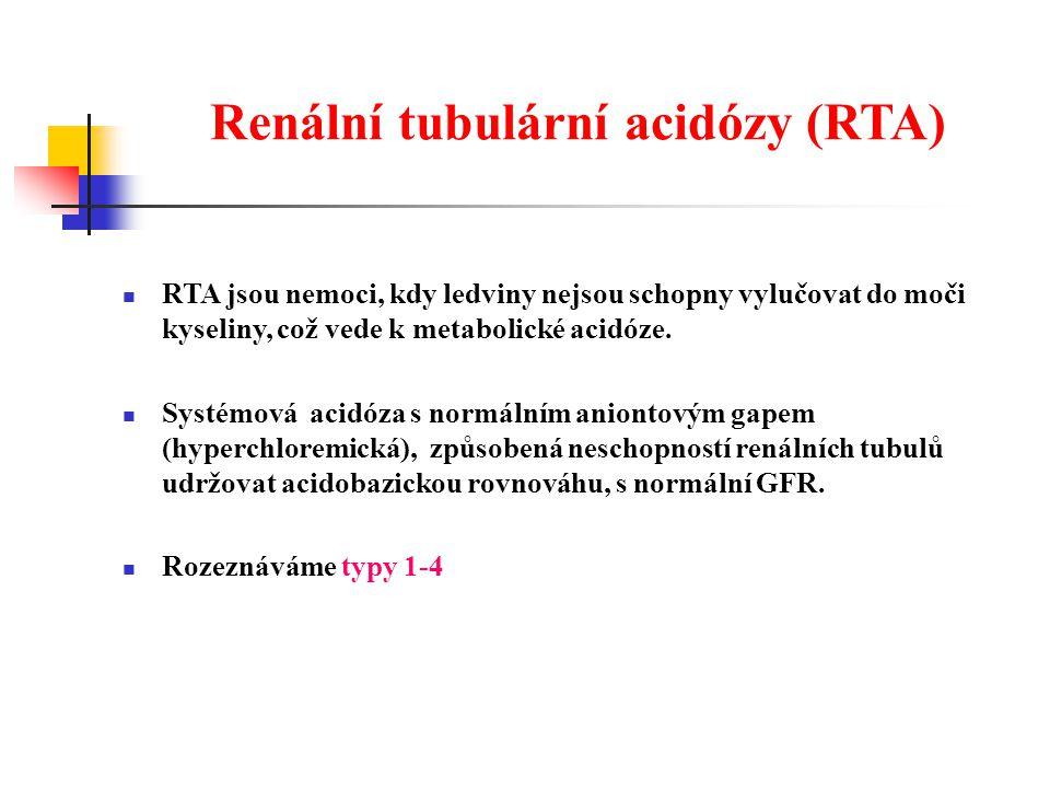 Renální tubulární acidózy (RTA) RTA jsou nemoci, kdy ledviny nejsou schopny vylučovat do moči kyseliny, což vede k metabolické acidóze.