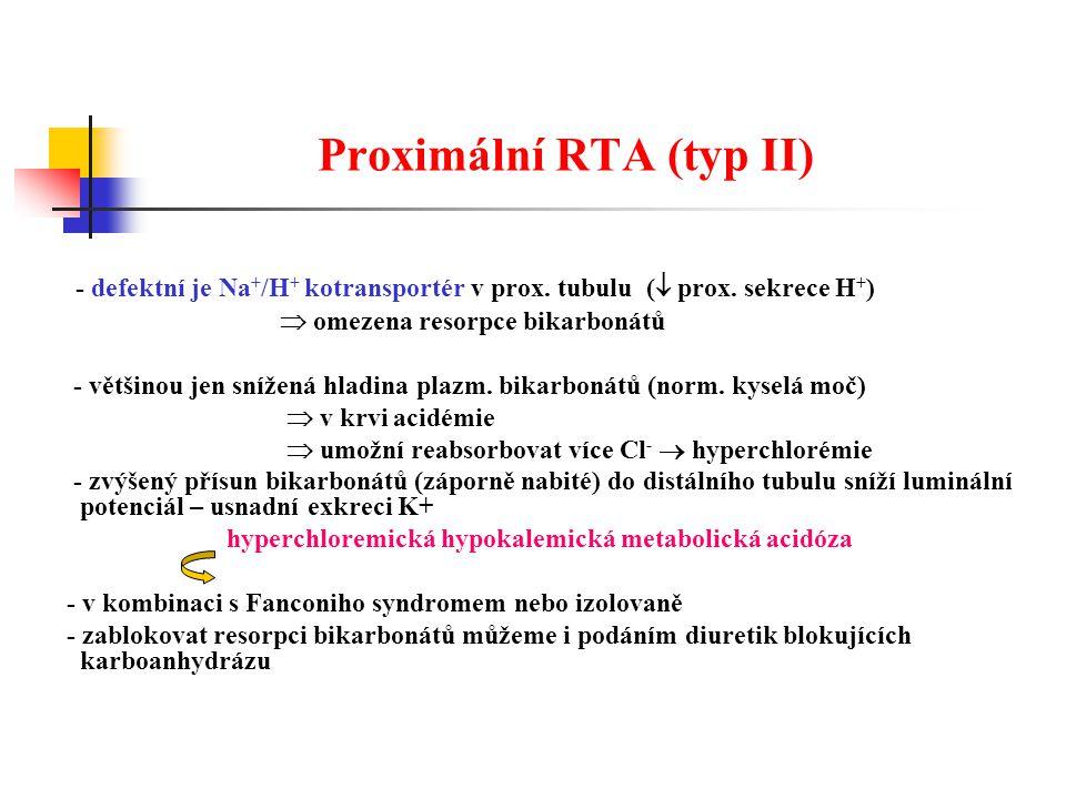 Proximální RTA (typ II) - defektní je Na + /H + kotransportér v prox.