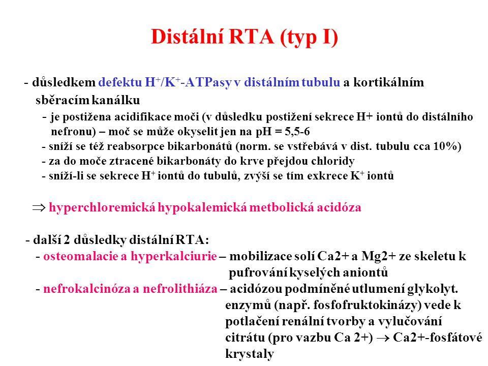 - důsledkem defektu H + /K + -ATPasy v distálním tubulu a kortikálním sběracím kanálku - je postižena acidifikace moči (v důsledku postižení sekrece H+ iontů do distálního nefronu) – moč se může okyselit jen na pH = 5,5-6 - sníží se též reabsorpce bikarbonátů (norm.