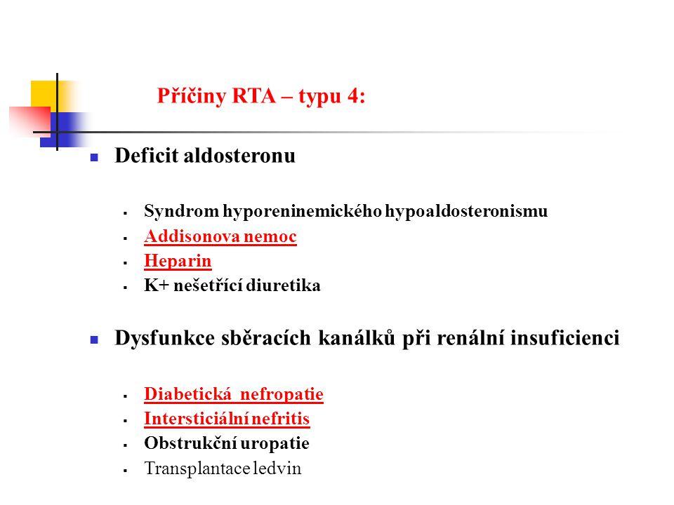 Příčiny RTA – typu 4: Deficit aldosteronu  Syndrom hyporeninemického hypoaldosteronismu  Addisonova nemoc Addisonova nemoc  Heparin Heparin  K+ nešetřící diuretika Dysfunkce sběracích kanálků při renální insuficienci  Diabetická nefropatie Diabetická nefropatie  Intersticiální nefritis Intersticiální nefritis  Obstrukční uropatie  Transplantace ledvin