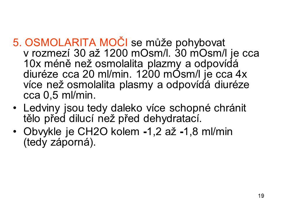 19 5. OSMOLARITA MOČI se může pohybovat v rozmezí 30 až 1200 mOsm/l. 30 mOsm/l je cca 10x méně než osmolalita plazmy a odpovídá diuréze cca 20 ml/min.