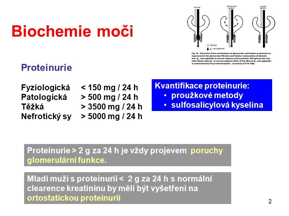 2 Proteinurie Fyziologická< 150 mg / 24 h Patologická> 500 mg / 24 h Těžká> 3500 mg / 24 h Nefrotický sy> 5000 mg / 24 h Proteinurie > 2 g za 24 h je