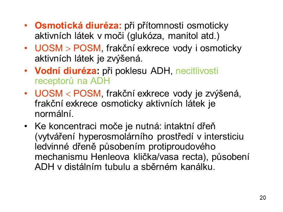 20 Osmotická diuréza: při přítomnosti osmoticky aktivních látek v moči (glukóza, manitol atd.) UOSM  POSM, frakční exkrece vody i osmoticky aktivních