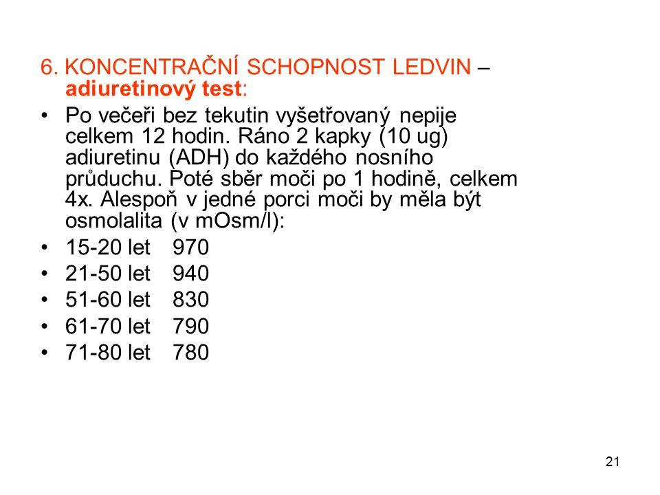 21 6. KONCENTRAČNÍ SCHOPNOST LEDVIN – adiuretinový test: Po večeři bez tekutin vyšetřovaný nepije celkem 12 hodin. Ráno 2 kapky (10 ug) adiuretinu (AD