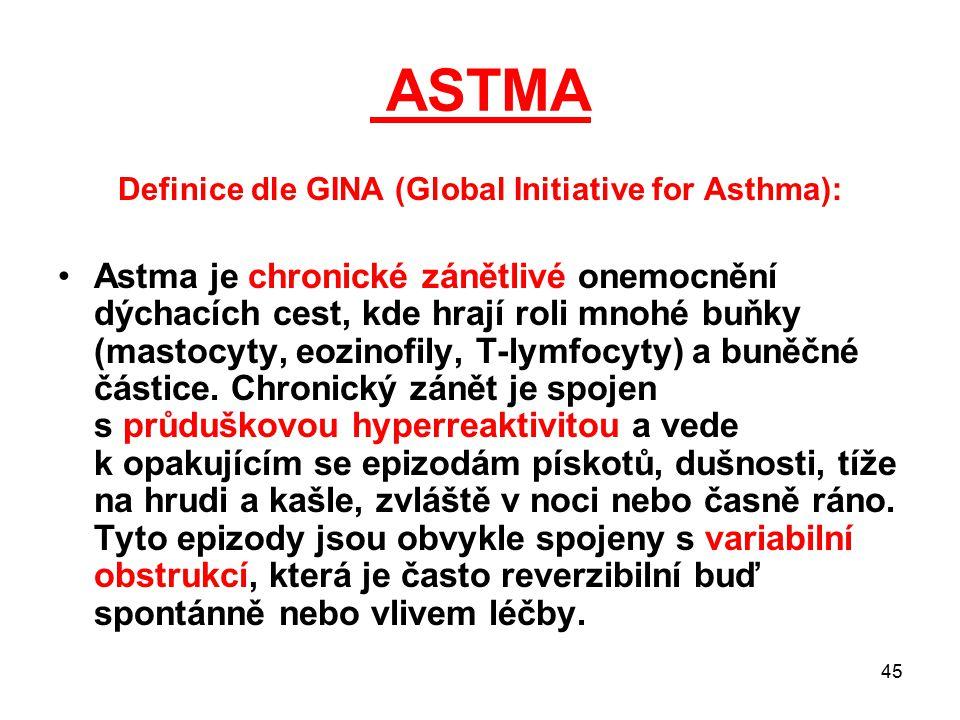 45 ASTMA Definice dle GINA (Global Initiative for Asthma): Astma je chronické zánětlivé onemocnění dýchacích cest, kde hrají roli mnohé buňky (mastocy