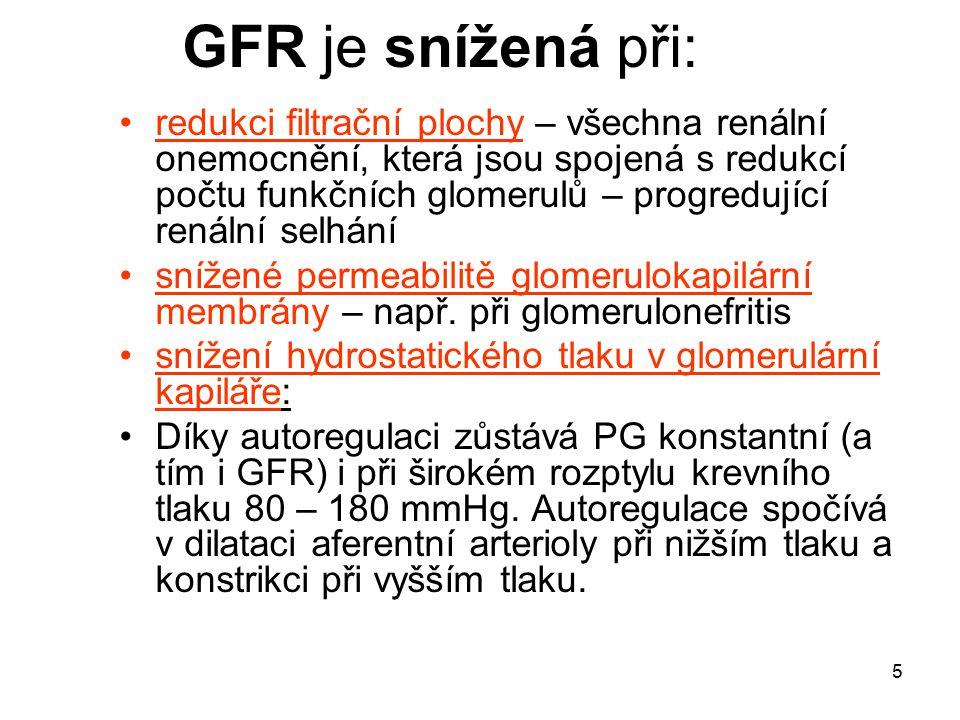 5 GFR je snížená při: redukci filtrační plochy – všechna renální onemocnění, která jsou spojená s redukcí počtu funkčních glomerulů – progredující ren