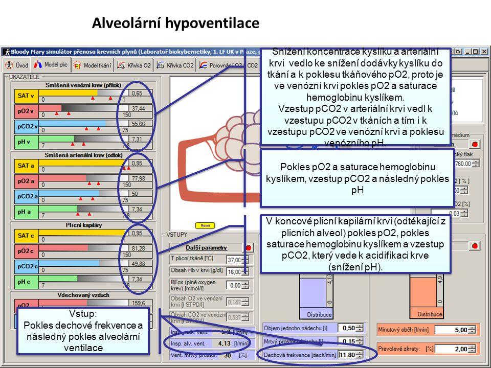 63 Alveolární hypoventilace Vstup: Pokles dechové frekvence a následný pokles alveolární ventilace Vstup: Pokles dechové frekvence a následný pokles a