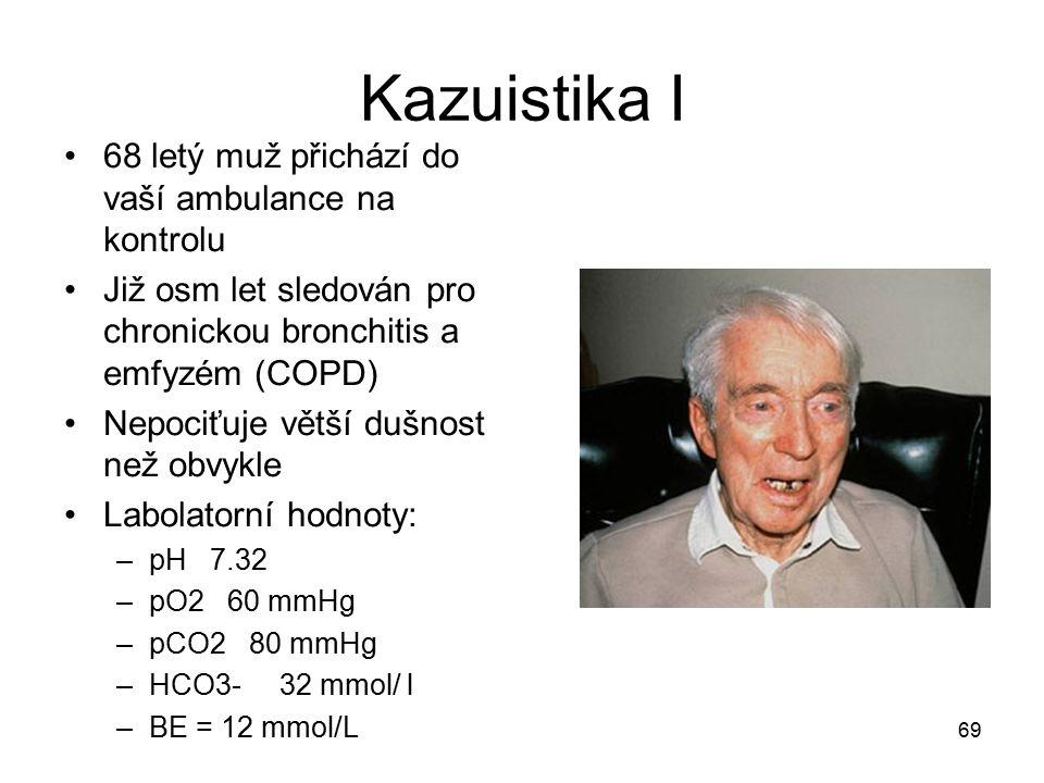 69 Kazuistika I 68 letý muž přichází do vaší ambulance na kontrolu Již osm let sledován pro chronickou bronchitis a emfyzém (COPD) Nepociťuje větší du