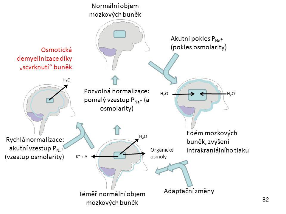 82 Akutní pokles P Na + (pokles osmolarity) Edém mozkových buněk, zvýšení intrakraniálního tlaku Adaptační změny K + + A - Organické osmoly H2OH2OH2OH