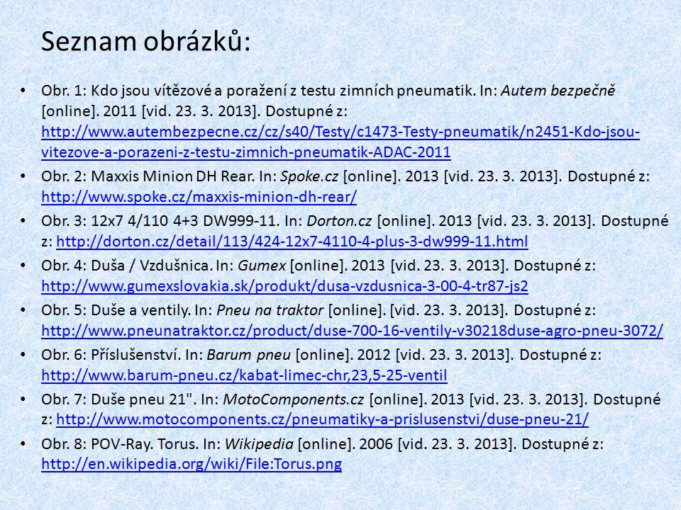 Seznam obrázků: Obr. 1: Kdo jsou vítězové a poražení z testu zimních pneumatik. In: Autem bezpečně [online]. 2011 [vid. 23. 3. 2013]. Dostupné z: http