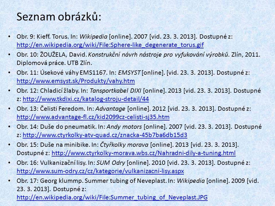 Seznam použité literatury: [1] Vašíček Emil, Gumárenská technologie 2, druhé vydání, učební texty SOŠ Otrokovice, 2011 [2] Torus.
