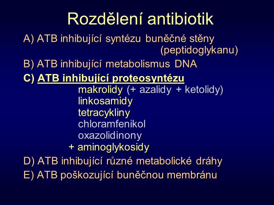 Rozdělení antibiotik A) ATB inhibující syntézu buněčné stěny (peptidoglykanu) B) ATB inhibující metabolismus DNA C) ATB inhibující proteosyntézu makro