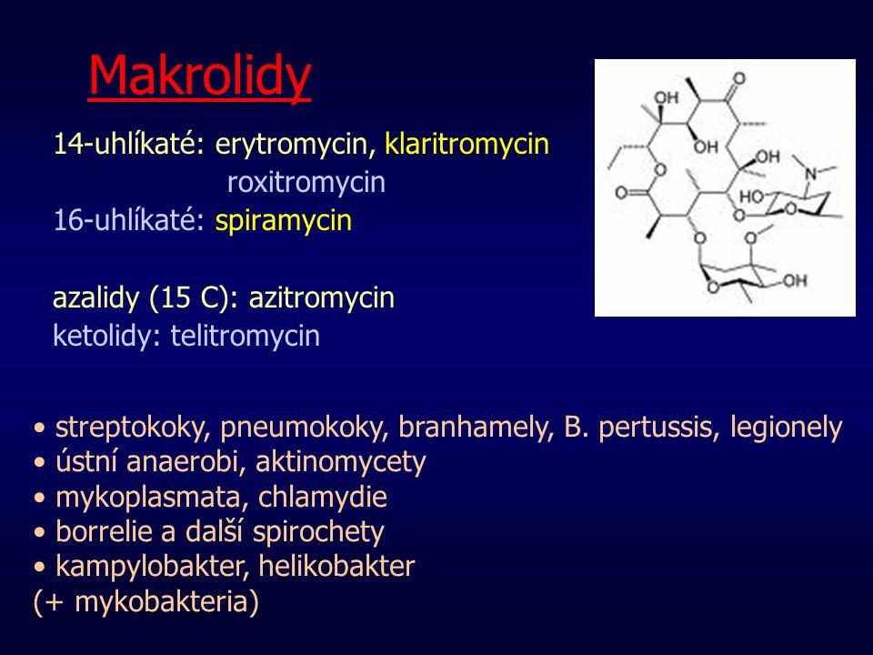 Makrolidy 14-uhlíkaté: erytromycin, klaritromycin roxitromycin 16-uhlíkaté: spiramycin azalidy (15 C): azitromycin ketolidy: telitromycin streptokoky,