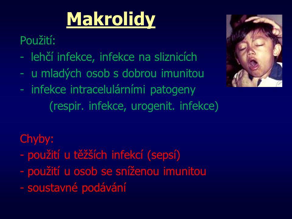 Makrolidy Použití: - lehčí infekce, infekce na sliznicích - u mladých osob s dobrou imunitou - infekce intracelulárními patogeny (respir. infekce, uro