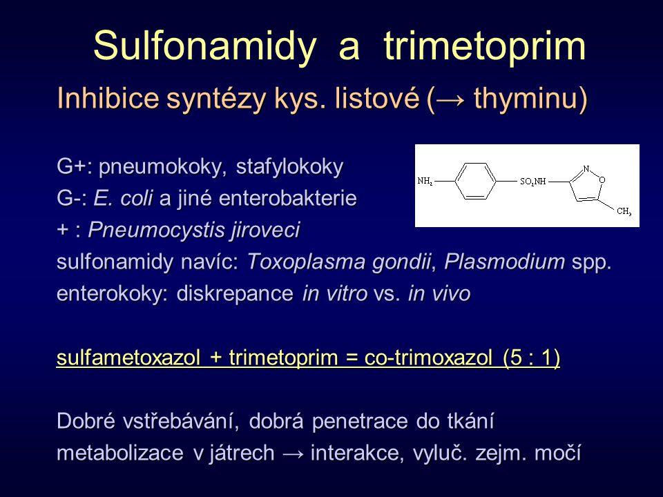 Sulfonamidy a trimetoprim Inhibice syntézy kys. listové (→ thyminu) G+: pneumokoky, stafylokoky G-: E. coli a jiné enterobakterie + : Pneumocystis jir