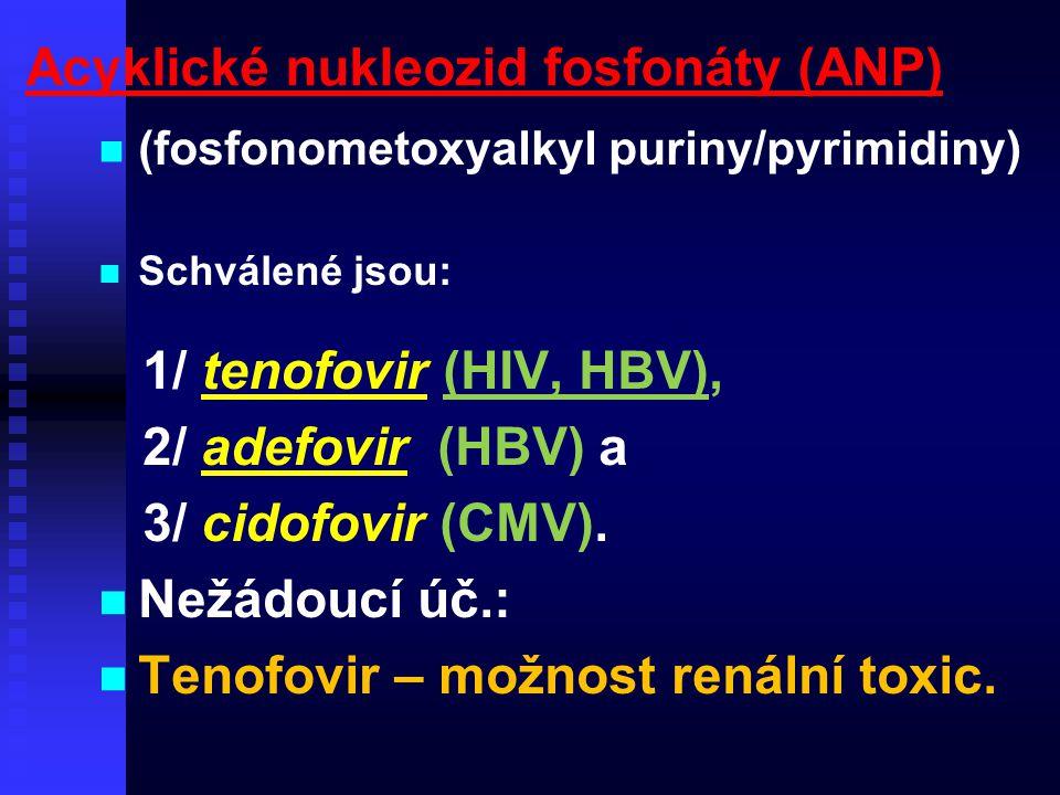 Acyklické nukleozid fosfonáty (ANP) (fosfonometoxyalkyl puriny/pyrimidiny) Schválené jsou: 1/ tenofovir (HIV, HBV), 2/ adefovir (HBV) a 3/ cidofovir (
