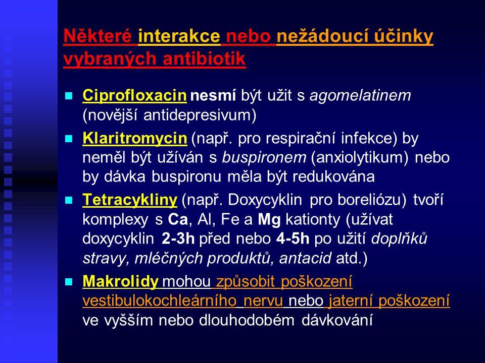 Některé interakce nebo nežádoucí účinky vybraných antibiotik Ciprofloxacin nesmí být užit s agomelatinem (novější antidepresivum) Klaritromycin (např.