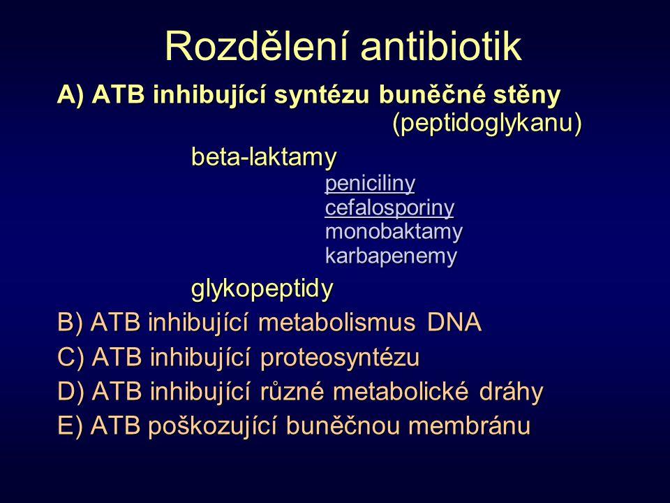 Rozdělení antibiotik A) ATB inhibující syntézu buněčné stěny (peptidoglykanu) beta-laktamypenicilinycefalosporinymonobaktamykarbapenemyglykopeptidy B)