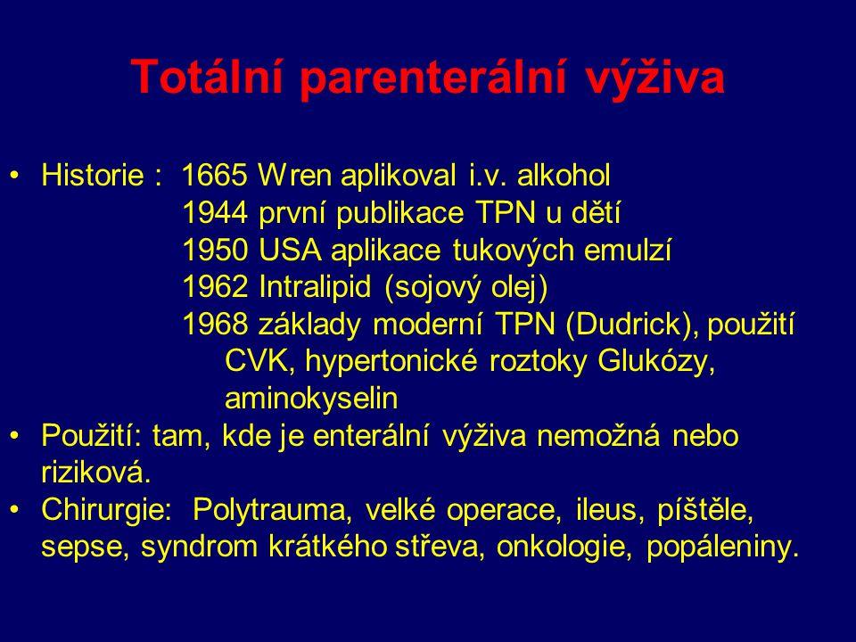 Totální parenterální výživa Historie : 1665 Wren aplikoval i.v. alkohol 1944 první publikace TPN u dětí 1950 USA aplikace tukových emulzí 1962 Intrali