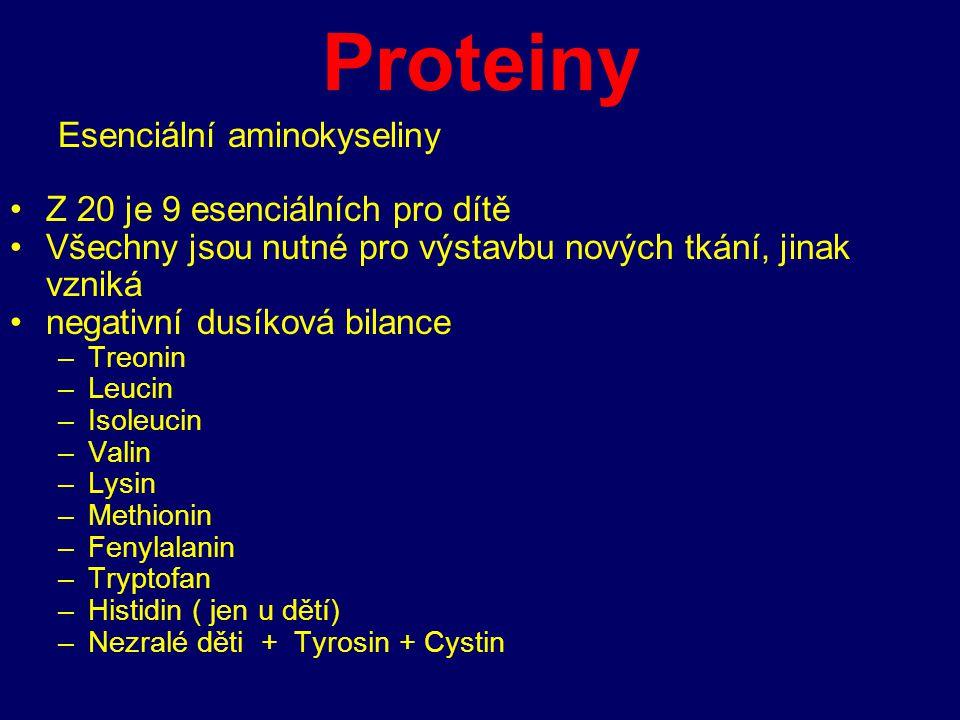 Proteiny Esenciální aminokyseliny Z 20 je 9 esenciálních pro dítě Všechny jsou nutné pro výstavbu nových tkání, jinak vzniká negativní dusíková bilanc