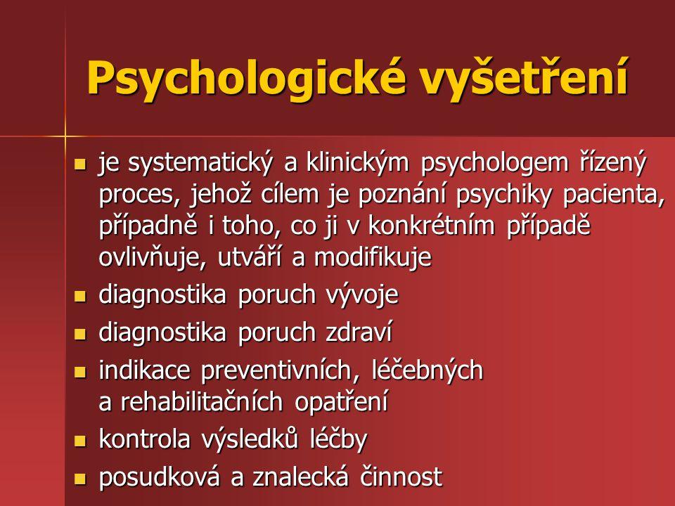Psychologické vyšetření je systematický a klinickým psychologem řízený proces, jehož cílem je poznání psychiky pacienta, případně i toho, co ji v konk
