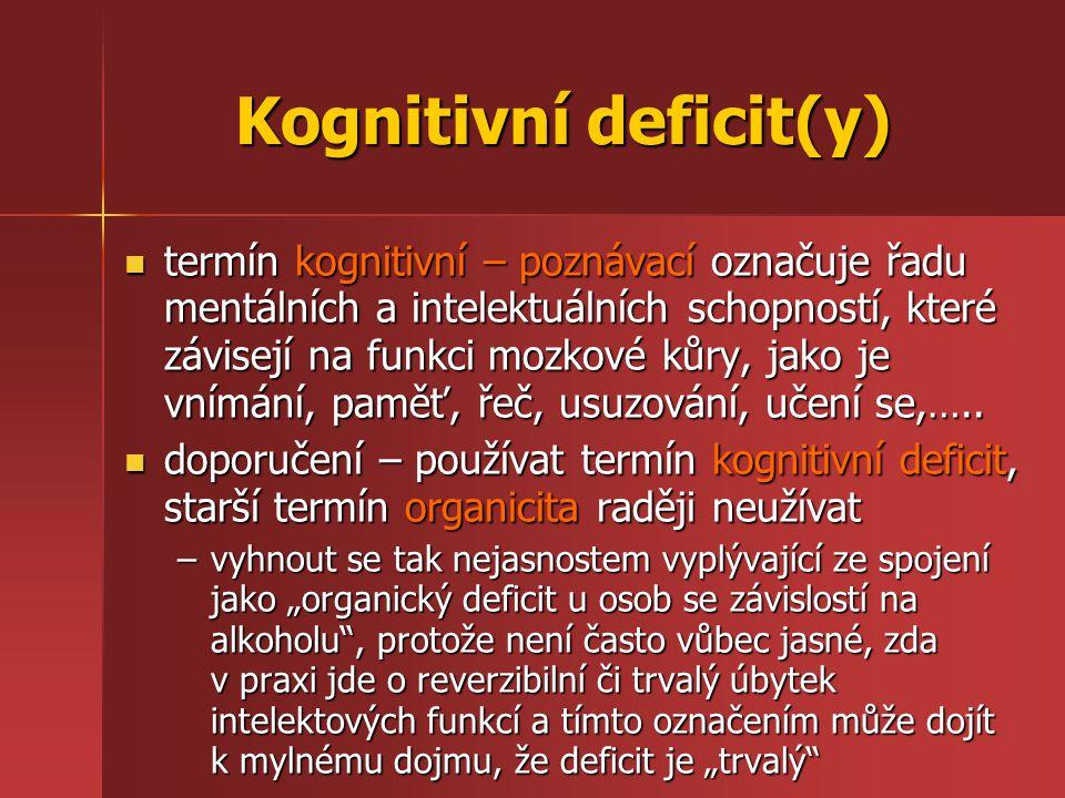Kognitivní deficit(y) termín kognitivní – poznávací označuje řadu mentálních a intelektuálních schopností, které závisejí na funkci mozkové kůry, jako je vnímání, paměť, řeč, usuzování, učení se,…..