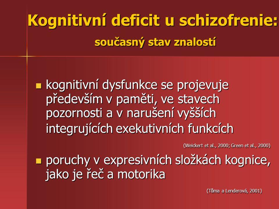kognitivní dysfunkce se projevuje především v paměti, ve stavech pozornosti a v narušení vyšších integrujících exekutivních funkcích (Weickert et al.,